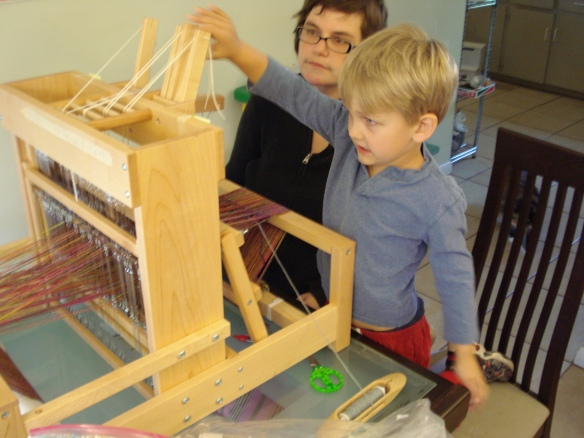 Liam gets friendly with the loom